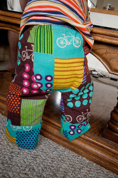Fancy new Big Butt Baby Pants (using the madebyrae pattern), made with an Echino Nico fabric.