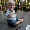 <b>10.5 months</b> Cherry eating on the balcony