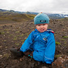 <b>17.8.2012</b> Finn playing with rocks.  And eating rocks.