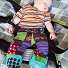 Fancy bike pants made with Echino Nico bike fabric (have to get a photo of the back when he's awake). I messed up the pant cuffs, but they'll be ok anyway.  And for a 12-18 month size, they were a tighter fit than I was expecting!