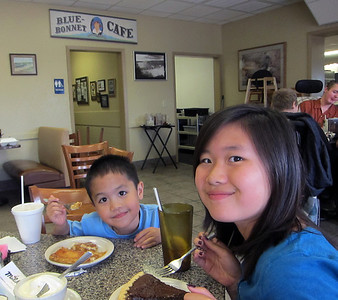 Enjoying some pies at Blue Bonnet Cafe in Marble Falls after fishing
