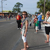 Kim and Judy collecting Madigras beads at the Panama City Madigras parade.