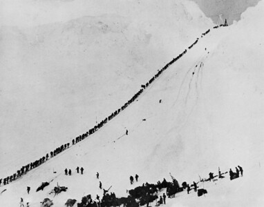 Richard may very well be in this photograph of prospectors beginning their Yukon adventures at Chilcoot Pass, north of Skagway, in 1898