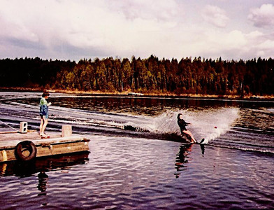 This is my cousin, Diane, waterskiing at the lake.