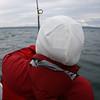 Timber bringing in a halibut.