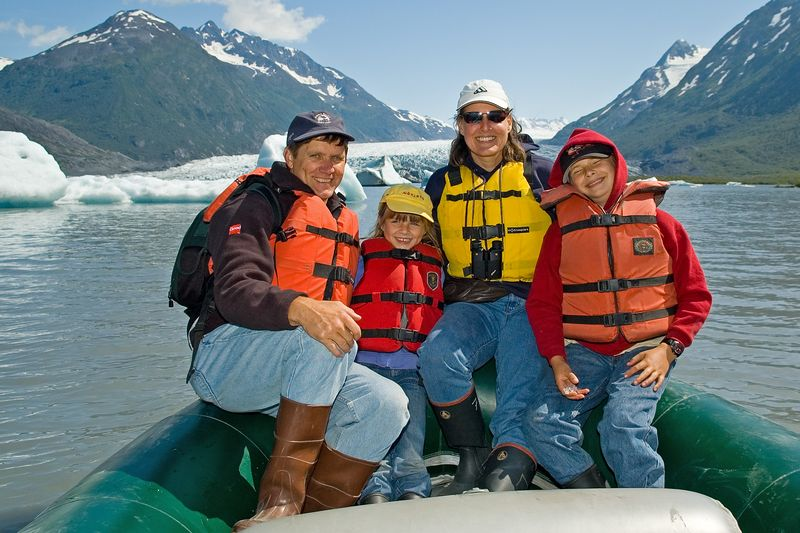 The four of us in front of the glacier.