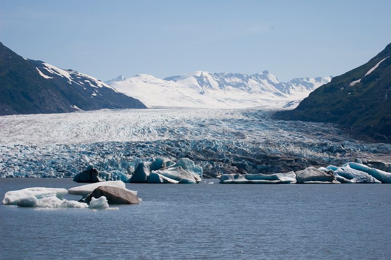 As the glacier moves into the lake, large chunks of ice break off and there are floating icebergs in the lake.