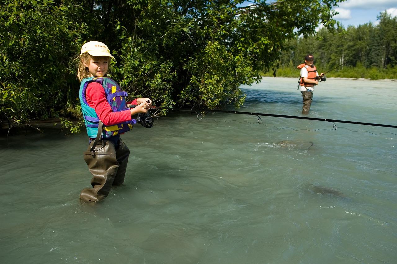 Sara, fishing for salmon.