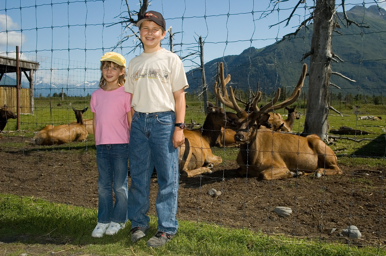 Kevin and Sara in front of some elk.