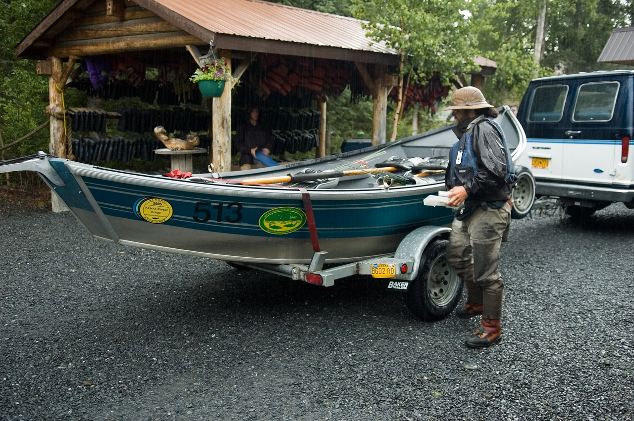 """This is a """"drift"""" boat, specifically built for drifting along rivers and navigating rapids.  Kevin and I fished for trout on the Kenai river from this boat.  I didn't get any other pictures because we had on and off rain during the fishing trip.  I caught a few rainbow trout, but the guide said that the fishing was pretty slow compared to normal because of high water in the river."""