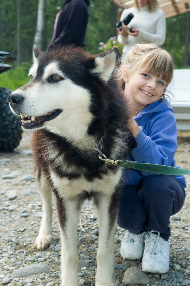 Sara with one of the dogs.