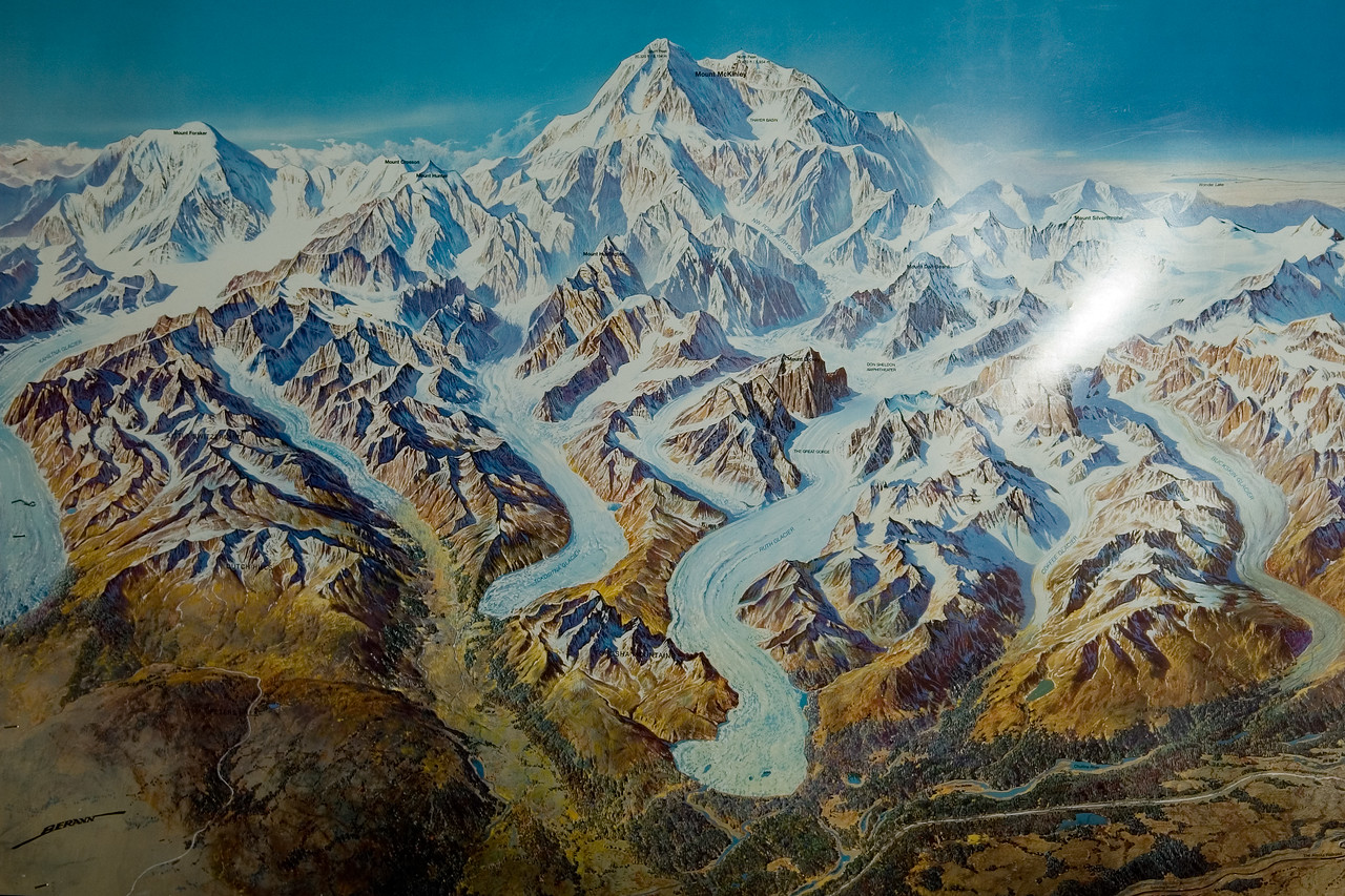 This is a picture of a map that shows Denali and all the various glaciers coming off it.  The Ruth glacier is one of the biggest.  It's more than 1000 feet thick in some places.   It was interesting to learn that glaciers are basically like frozen rivers.  They move just like rivers do (sometimes inches a day) - the only real difference being that they move a lot slower and have much higher erosive forces.