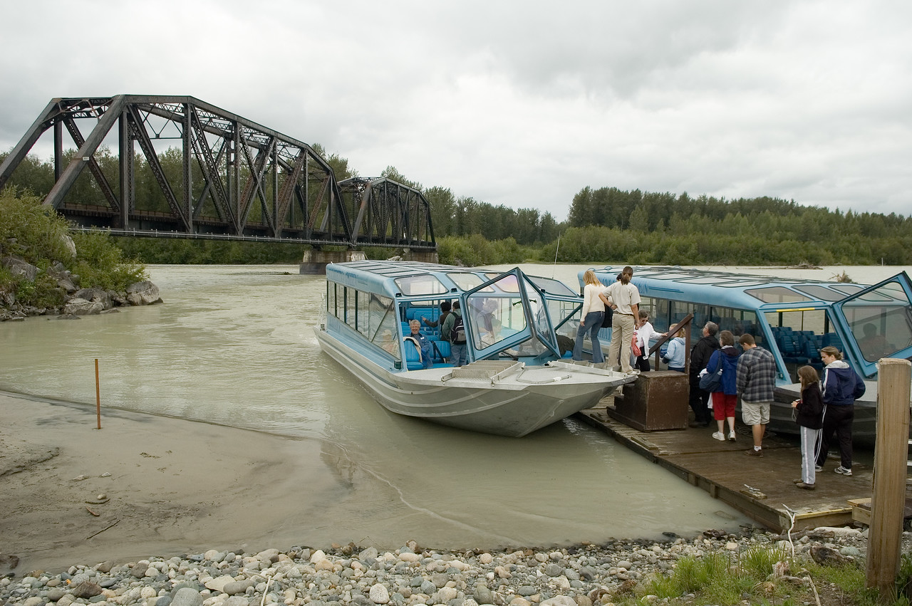 These are the jet boats that we toured the river at Tawkeetna on.  Our guide for this trip was a young woman who was born and raised in this area.  Her father was originally a trapper in the area and she showed us the house that he lived in.  We also saw several bald eagles and a bald eagle nest on this trip.