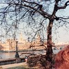 April 1, 1990<br /> London, England<br /> View from tour bus (Parliament?)