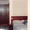 March 31, 1990<br /> London Visitors Hotel<br /> London, England<br /> opposite end of hotel<br /> Bob lying on bed in our room