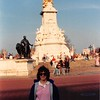 April 1, 1990<br /> London, England<br /> me in front of statue or manument across the street from Buckingham Palace