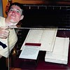 8-03 Palmyra, NY<br /> Grandin Publishing Co.--where Book of Mormon was published<br /> Daniel showing Book of Mormon manuscript