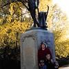 10-10-04<br /> Statue at Old North Bridge, Concord, MA<br /> Janean, Jeremy, Sarah and Allison (Rachel Crane's kids)