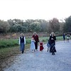 10-10-04<br /> Walking to Old North Bridge visitor center, Concord, MA<br /> Laurie, Sarah, Janean, Allison, Jeremy and Susie