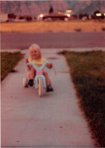 August 1981<br /> 1484 S. 400 E. Orem, UT<br /> Teresa (2 1/2) riding her hot wheels.