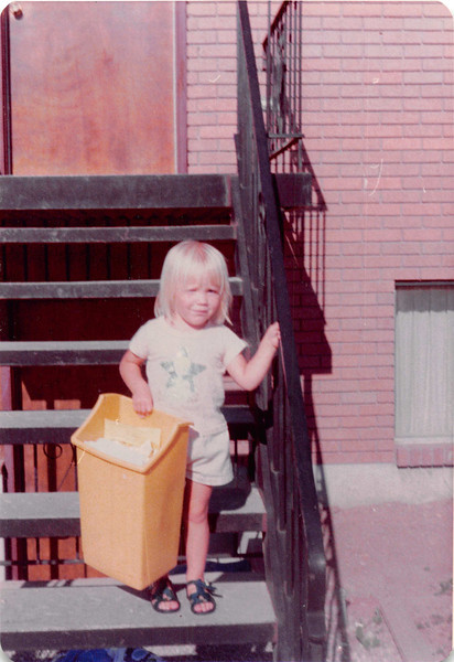 August 1981<br /> 1484 S. 400 E. Orem, UT<br /> Teresa taking out the garbage.