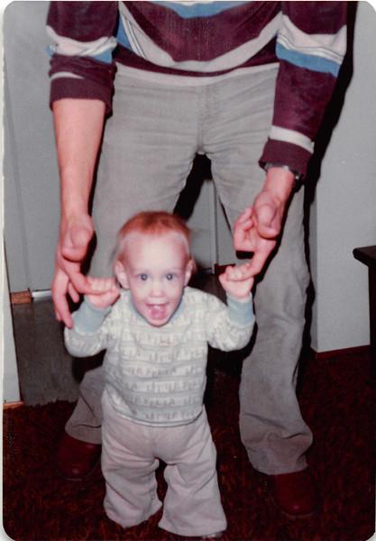 October 1981<br /> 144-D Escondido Village, Stanford, CA<br /> Craig practicing walking (11 months).