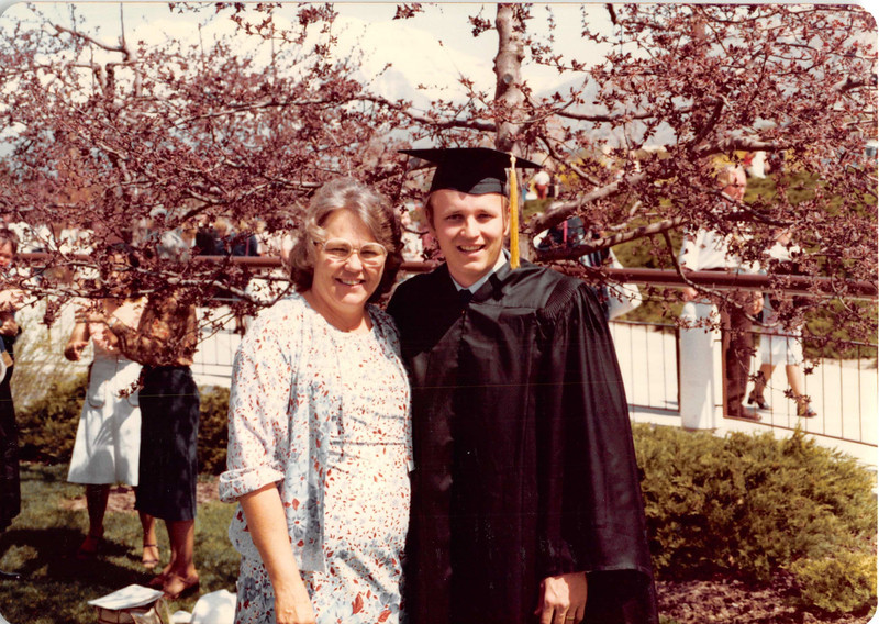 April 18, 1980<br /> Bob and his mom in front of Marriott Center after commencement exercises.