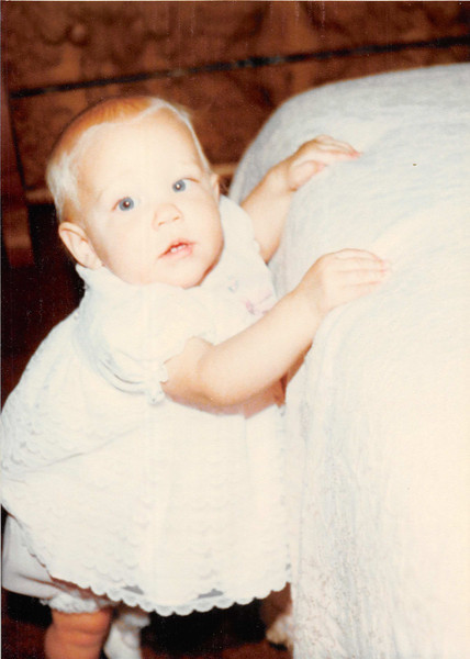 Nov. 1979<br /> 1104 W. 680 S. Orem, UT<br /> Teresa (9 months) learning how to stand up against the bed.