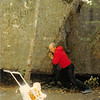 "Sept. 1979<br /> Bob ""lifting"" a big rock.  Teresa is watching (6 months) <br /> near Timp cave, Utah."