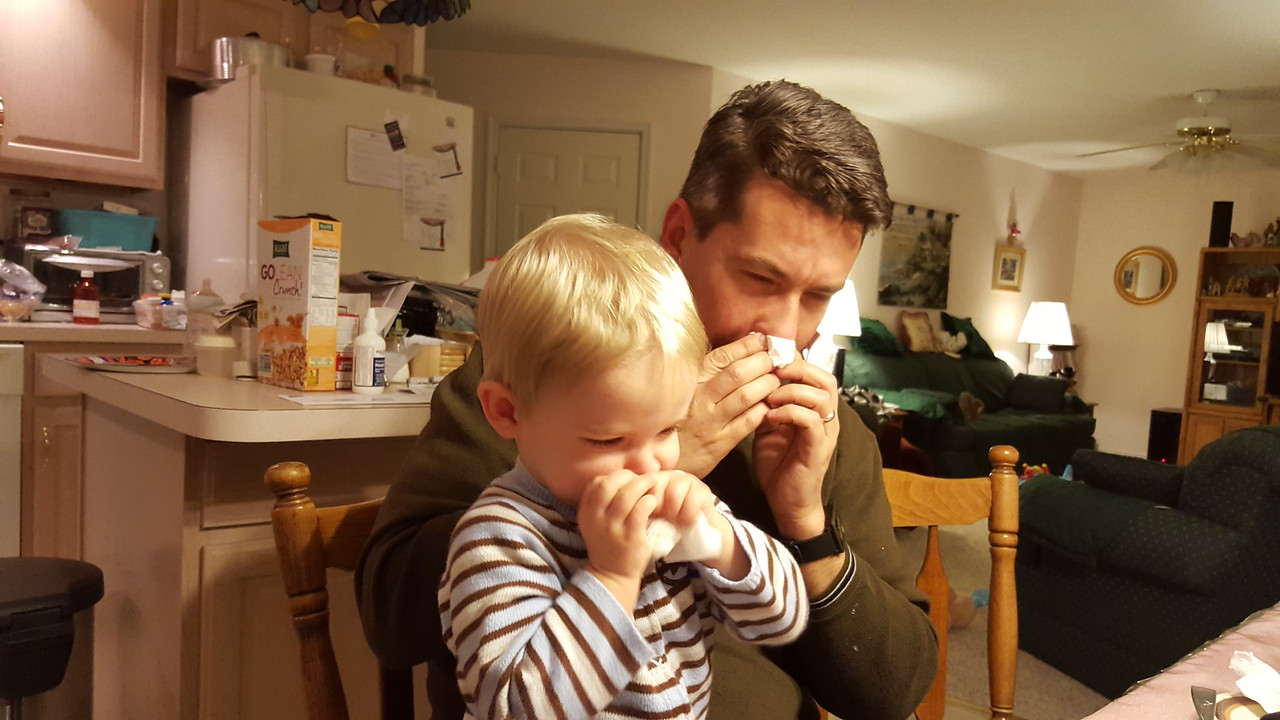 Lucas learning to blow his nose