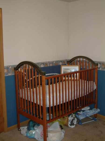 A fantastic crib and rocker set was purchased from a nearby family.