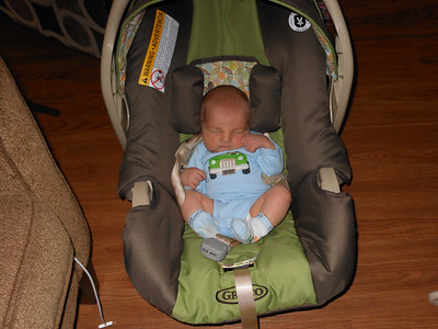 Teeny boy in his car seat. Plenty of space to grow into!