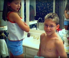 Alex getting his hair highlighted.