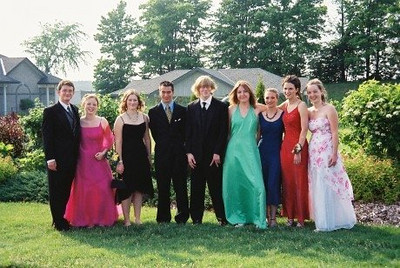 High school graduation - Alex is first on the Left
