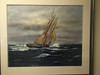 painting of schooner in mud room