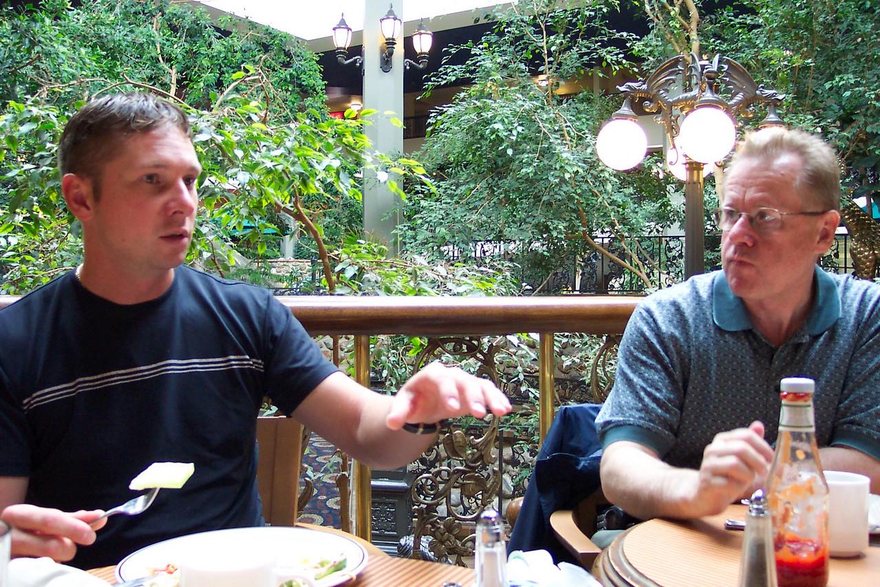 Trev and Dad eating supper at the Saskatoon Inn