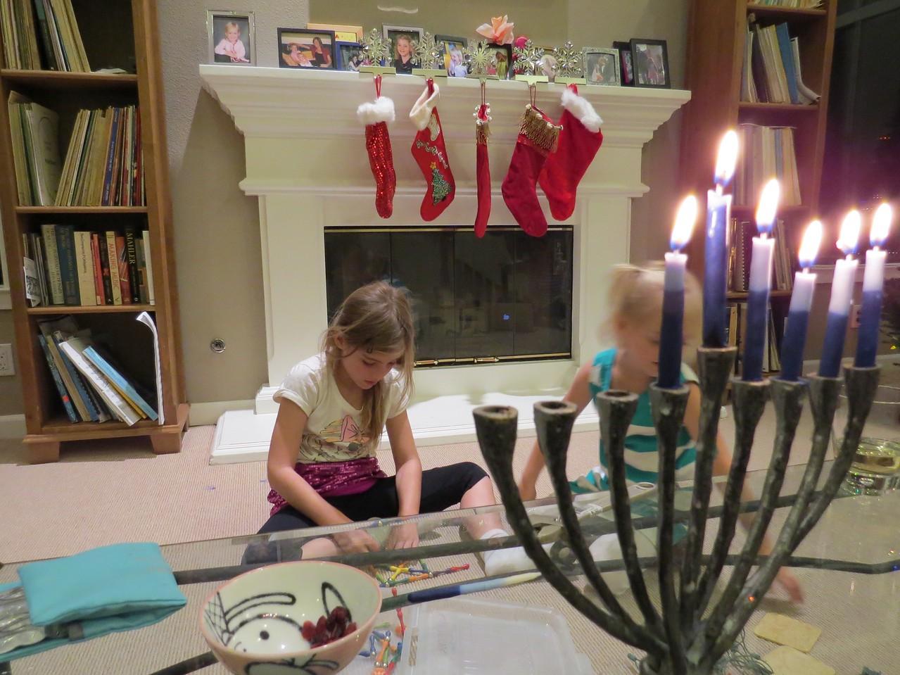 Christmas stockings and the menorah