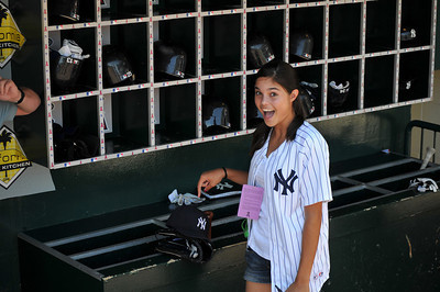 Allie in Yankee dugout