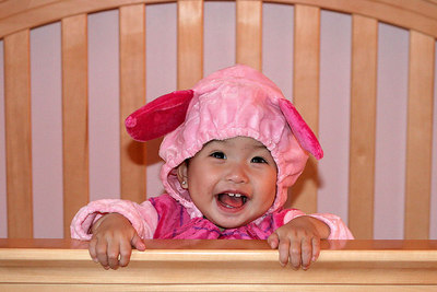 I really like my Piglet costume that Auntie My got for me.  She says Piglet really suits me.