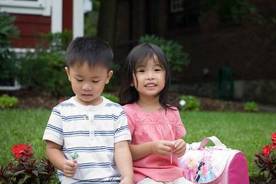 Nathan and Alyssa after preschool.