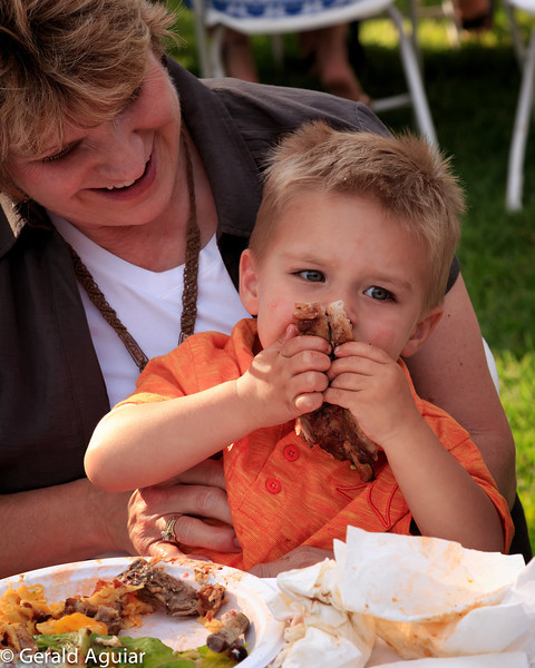 Zane chewing on those delicious ribs!