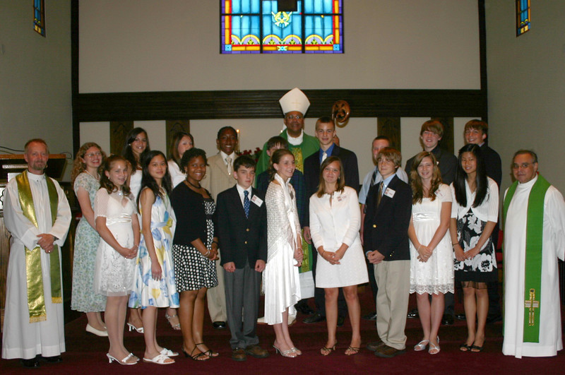 Group picture of the confirmation class with the bishop, our priest (far right), and an assisting deacon.  No photography or video taping was allowed during the ceremony.