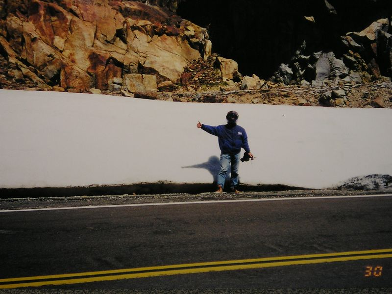 Tioga Pass a few rocks a little snow an lil  ole me.