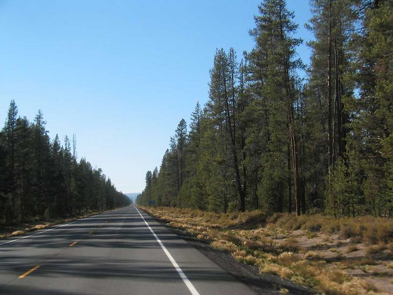 just go along that straight road for 15 miles then turn left go another 4 or 5 miles and there you are Crater Lake Oregon