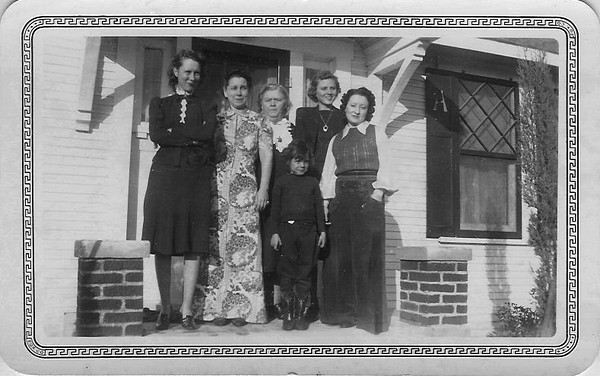 left to right Tea Amsler Kurc, Rena Amsler(Phil's wife) . Cora Amsler (Mama), Lula Amsler (Charlie's wife), Dana Amsler (West's wife) and Marjorie about 9 years old (1939)<br /> Ultimate repository of this image is unknown but its original source is believe to be from collection of Louis Philip Amsler Sr, the oldest of the Amsler brothers whose wife, Rena is the second from the left.