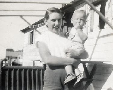 28. Marian Louise Johnson/Hosier Moore with David Michael Moore c. 1951, Myrtle Creek, OR