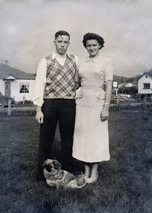 "11. Gordon Lindy Gene Moore and Alberta Florence (Johnson, but no relation to us) Moore on their wedding day. 1948, Myrtle Creek , OR. The pekinese (Peke) belonged  to Alberta's parents Howard (""Ted"") and Viola."