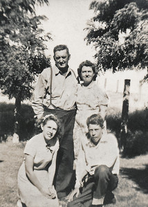 35. Gilbert (Gil) and Ina May Hosier, Marian Johnson and Charles (Chuck) Johnson, c. 1951, Arlington, WA.   [Gil was Marian and Chuck's stepfather.]