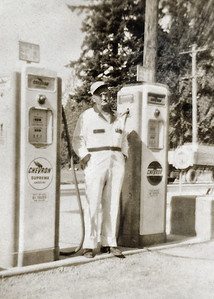 36. Gilbert (Gil) Hosier, c. 1950, at the gas station/convenience store he and Ina operated near Arlington, WA