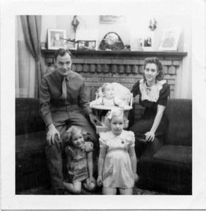 James Family Photo: William (L) Billy in High chair, Ruth (R) Nancy (sitting L) Beryl (kneeling R)  1945-1947